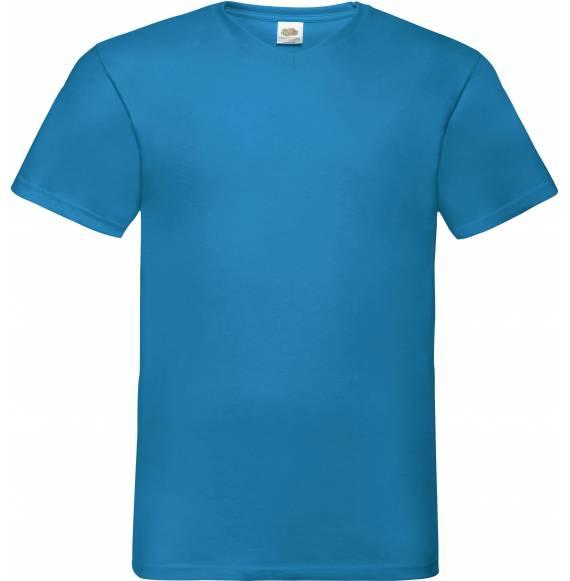 TEE-SHIRT HOMME COL V BLUE